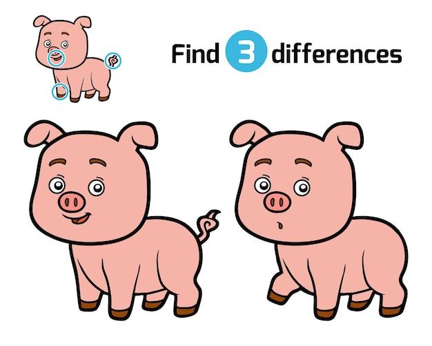 Найди отличия, развивающая игра для детей, свинья