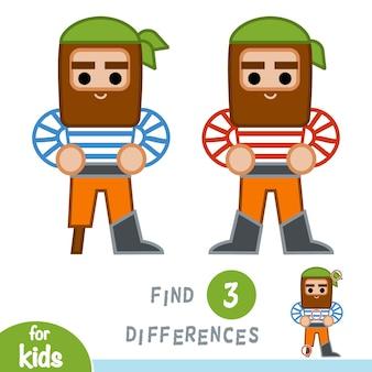 차이점 찾기, 어린이를 위한 교육 게임, 해적