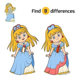 Найди отличия, развивающая игра для детей, принцесса