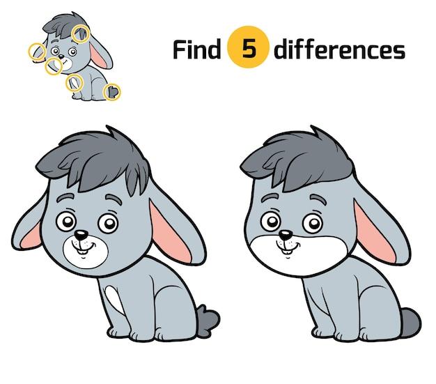 Найди отличия, развивающая игра для детей, кролик