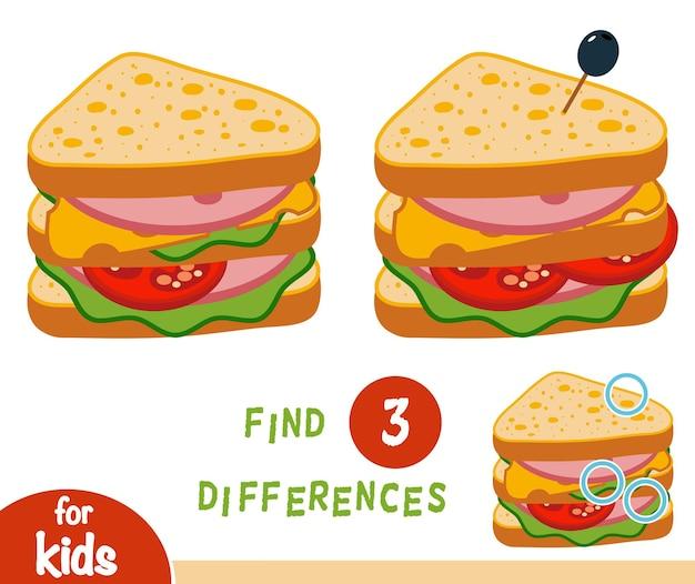 Игра «найди отличия» для детей, сэндвич