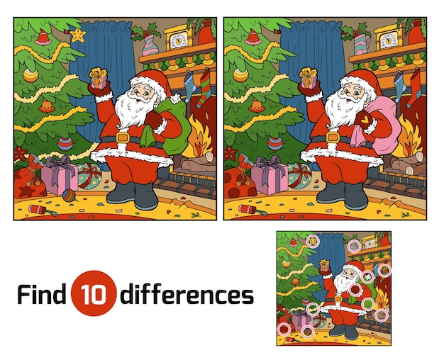 Найди отличия развивающая игра для детей, дед мороз