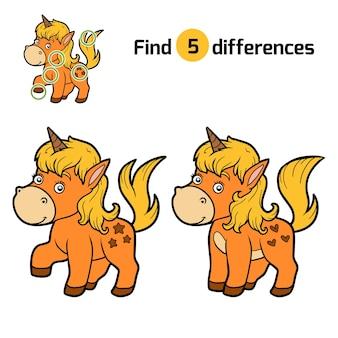 Найди отличия, развивающая игра для детей, единорог