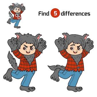 차이점 찾기, 어린이를 위한 교육 게임, 늑대인간 프리미엄 벡터