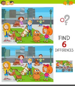 Find differences educational game with kids and dogs