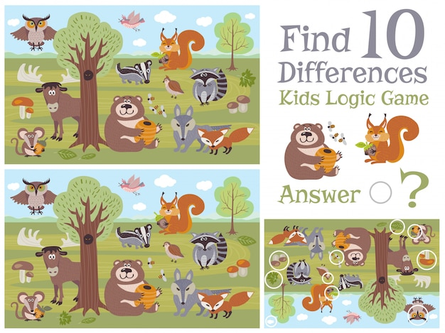 Find differences educational kids game with forest animal characters illustration