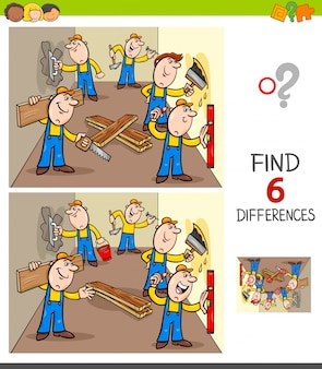 Find differences game with builders