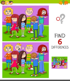 Find differences game with kids group