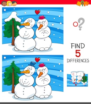 Find differences game with snowmen