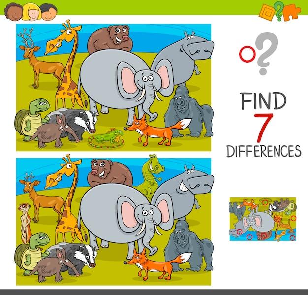 야생 동물 캐릭터와 차이 게임을 찾기