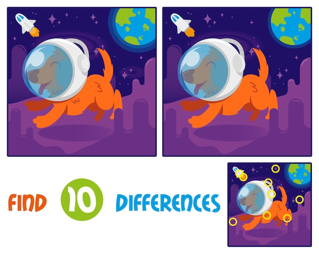 Find differences logic education interactive game for children. cute smile orange dog in space suit helmet first astronaut which. run on another planet or galaxy open space with stars blue earth