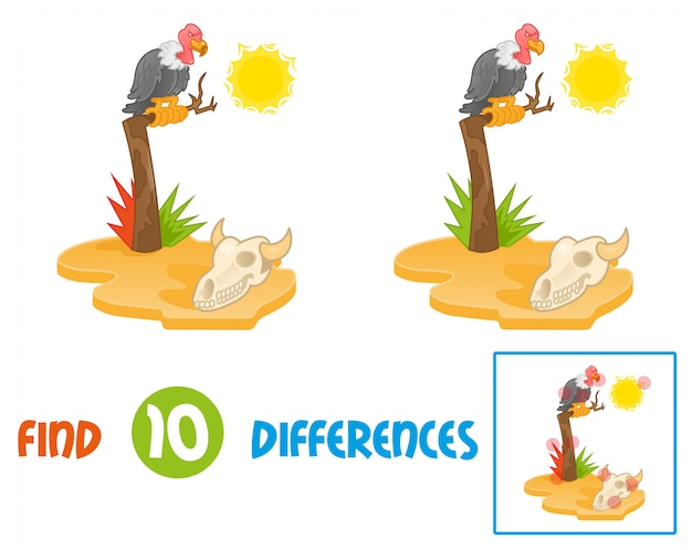 Find differences logic education interactive game for children island with hot sun desert view with gold yellow sand dry old tree on which sits big angry bird wild vulture and look on animal cow skull