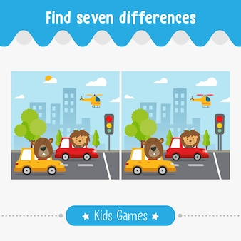 Find differences in the pictures, kids for preschool children