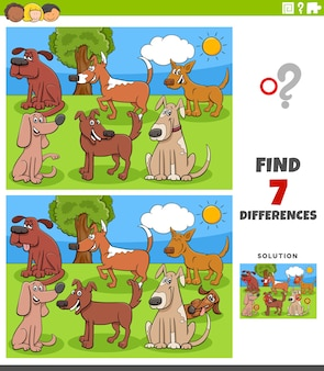 Find differences between pictures with cartoon dogs