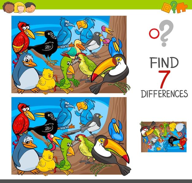 鳥の動物キャラクターとの違いを見つける