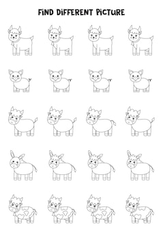 Find different black and white farm animals in each row. logical game for preschool kids.