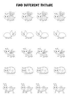 Find different black and white insect in each row. logical game for preschool kids.