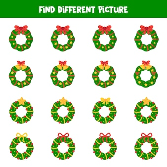 Find different christmas wreath in each group. educational logical game for kids.