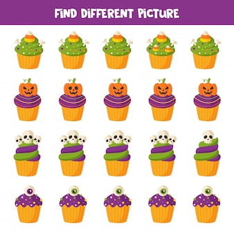 Find different halloween cupcake in each row