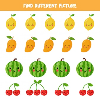 Find different kawaii fruit picture in each row. educational logical game for kids. printable worksheet for preschoolers.