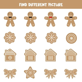 Find different picture of gingerbread cookies. logical game for kids.