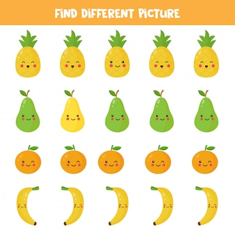 Find different picture of kawaii fruit in each row. logical game for kids. vector illustration of cute pineapple, pear, orange, banana. printable worksheet.