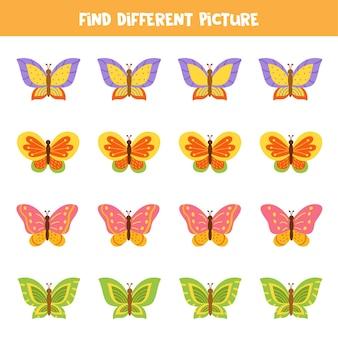 나비의 다른 그림을 찾으십시오. 아이들을위한 교육 논리 게임.