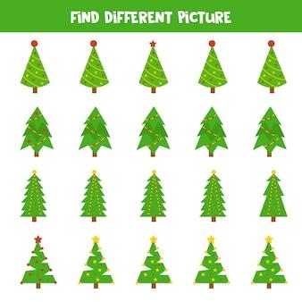각 행에서 크리스마스 전나무 나무의 다른 그림을 찾으십시오. 아이들을위한 교육 논리 게임.