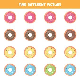 디저트의 다른 그림을 찾으십시오. 아이들을위한 교육 논리 게임.