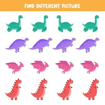 Найдите разные изображения динозавров в каждом ряду. развивающая логическая игра для детей.