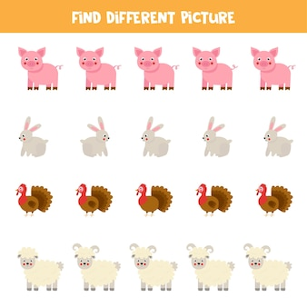 Найдите разные изображения сельскохозяйственных животных. развивающая логическая игра для детей.