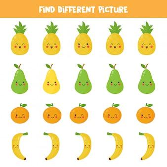 Найдите различную картину каваи в каждом ряду. логическая игра для детей. векторная иллюстрация милый ананас, груша, апельсин, банан. рабочий лист для печати.