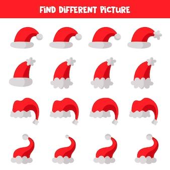 각 행에서 산타 클로스 모자의 다른 그림을 찾으십시오. 아이들을위한 교육 논리 게임.