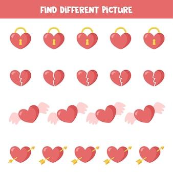 발렌타인 요소의 다른 그림을 찾으십시오. 아이들을위한 교육 논리 게임.
