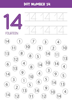 Find and dot number fourteen. learning number 14 with kids. educational worksheet.