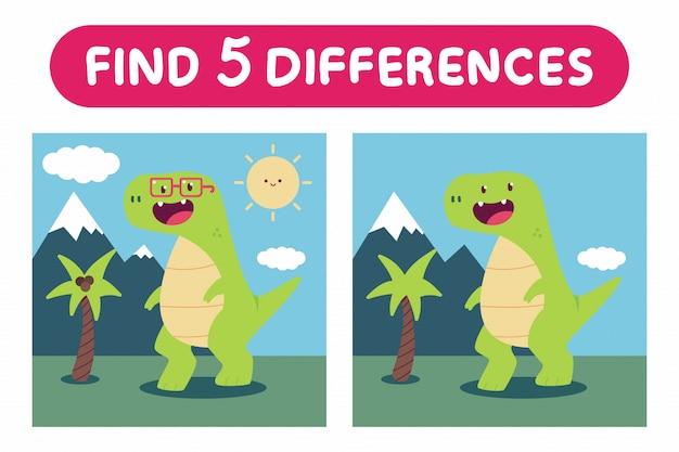 Найдите пять отличий. игра образования с милой иллюстрацией шаржа динозавров.