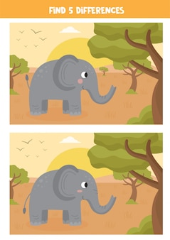Find five differences between the pictures. cartoon elephant.