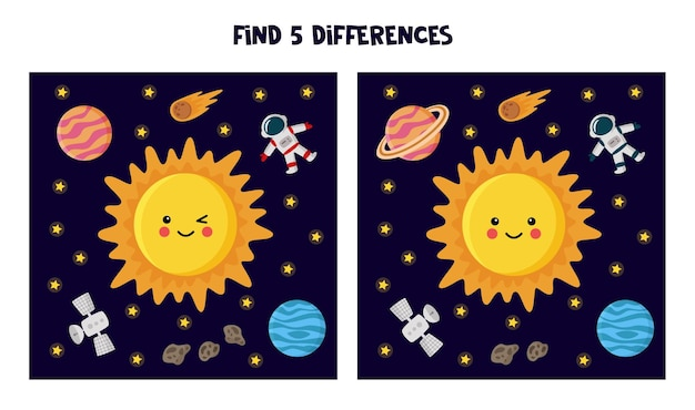 Find five differences between pictures.  sun and planets illustration.