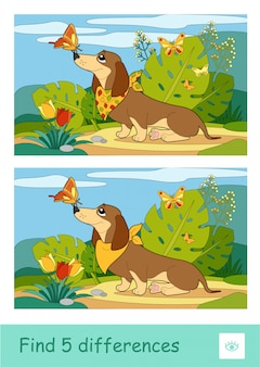 Find five differences quiz learning children game with image of a dog playing with butterflies on a meadow. colorful image of pets. developmental activity for children.