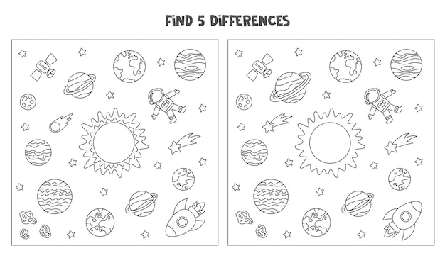 Find five differences between two black and white pictures of space.