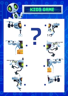 Find a half kids riddle game, cartoon robots match the pieces vector test with flying cyborgs, drones and ai droids. educational task for children logic activity, logical mind development worksheet