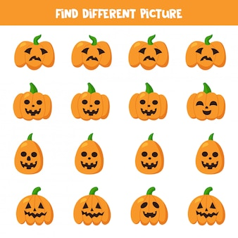 Find halloween pumpkin which is different from others.