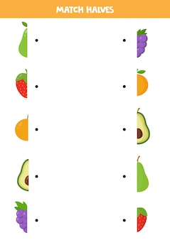 Find halves of fruits. educational matching game for kids. logical puzzle for preschoolers.