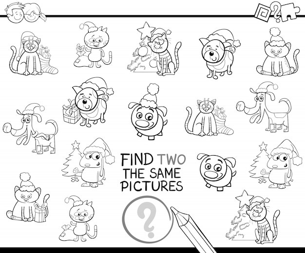 Find identical items coloring page with xmas pets