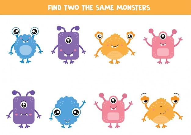 Найдите одинаковых монстров. симпатичный набор монстров. логическая игра для детей.