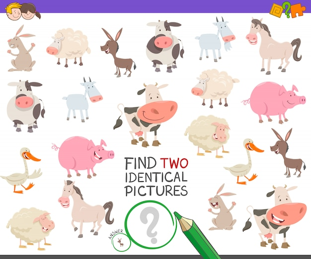 Find identical pictures educational game with farm animals