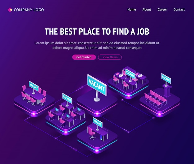 Find job, hiring agency, isometric vacant places