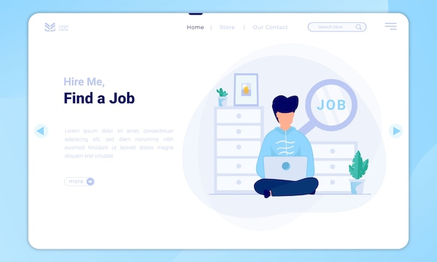 Find a job illustration on landing page template