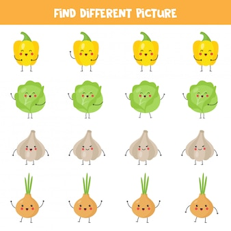 Find kawaii vegetable which is different from others in the row.