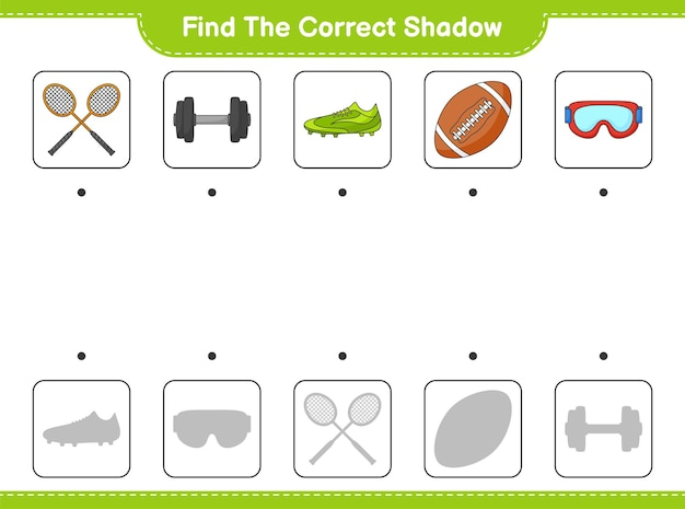 Find and match the correct shadow of badminton rackets dumbbell rugby ball goggle andshoes